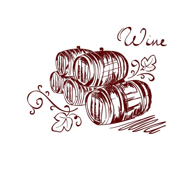 βαρέλια κρασιού ελεύθερη απεικόνιση δικαιώματος