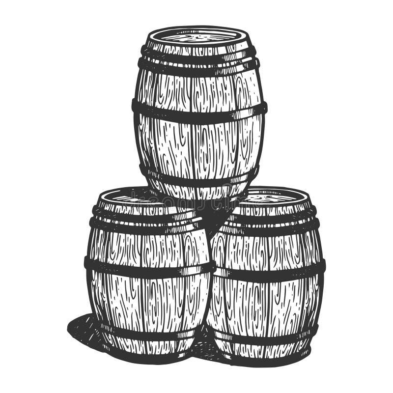 Βαρέλια μπύρας κρασιού που χαράσσουν τη διανυσματική απεικόνιση διανυσματική απεικόνιση