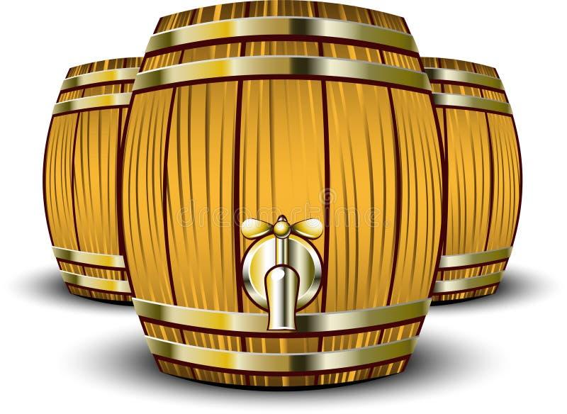 βαρέλια ξύλινα διανυσματική απεικόνιση