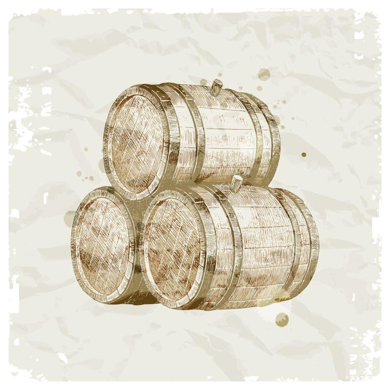 βαρέλια συρμένων χεριών ξύλ&io διανυσματική απεικόνιση