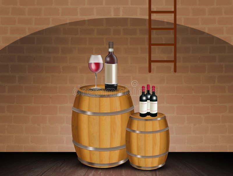 Βαρέλια του κόκκινου κρασιού στο κελάρι απεικόνιση αποθεμάτων