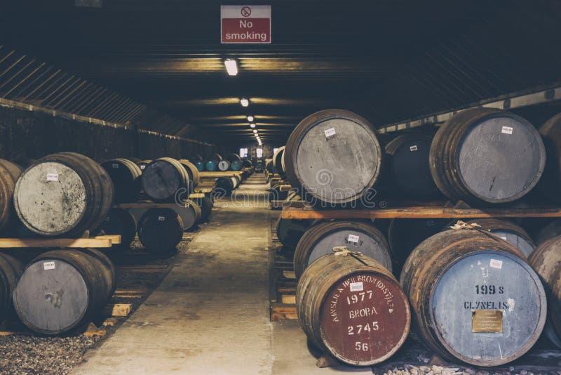 Βαρέλια του ουίσκυ μέσα στην αποθήκη εμπορευμάτων οινοπνευματοποιιών Brora στη Σκωτία, σπάνιο ουίσκυ Brora στο μέτωπο στοκ εικόνες