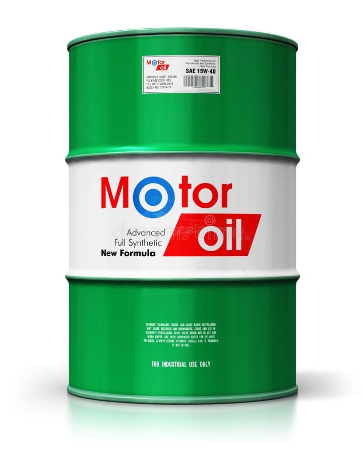 Βαρέλι με το λιπαντικό πετρελαίου μηχανών που απομονώνεται στο άσπρο υπόβαθρο απεικόνιση αποθεμάτων