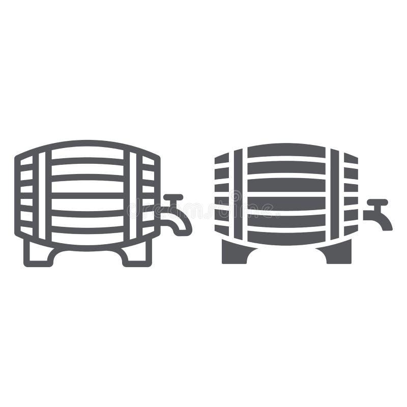 Βαρέλι της γραμμής και glyph του εικονιδίου μπύρας, οινόπνευμα και μπαρ, σημάδι ζυθοποιείων, διανυσματική γραφική παράσταση, ένα  απεικόνιση αποθεμάτων