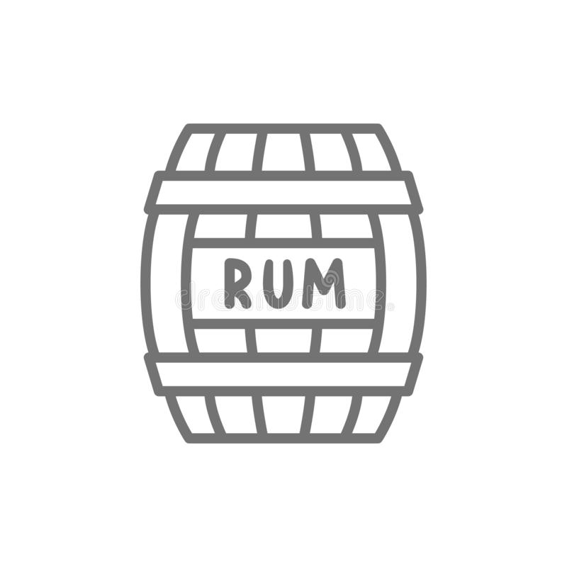 Βαρέλι του ρουμιού, οινόπνευμα, εμπορευματοκιβώτιο ποτών, ξύλινο εικονίδιο γραμμών βυτίων απεικόνιση αποθεμάτων