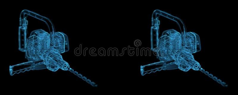 Βαρέων καθηκόντων όψη stero τρυπανιών διανυσματική απεικόνιση