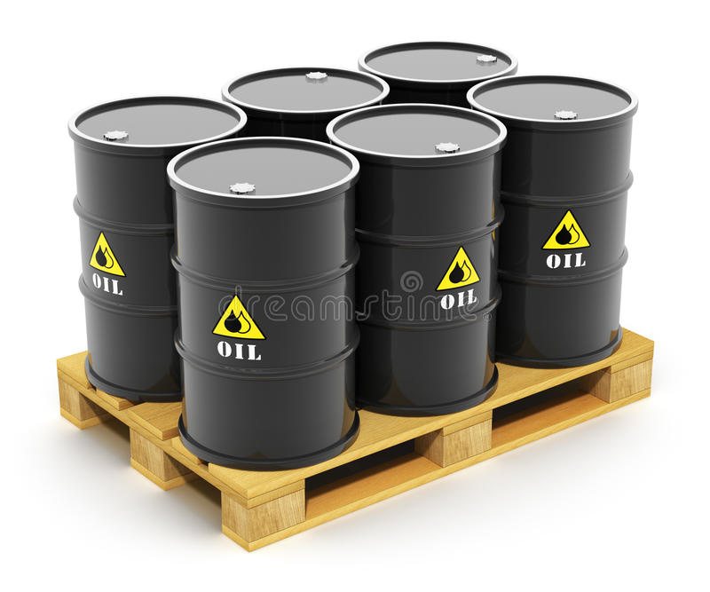 Βαρέλια πετρελαίου στη ναυτιλία της παλέτας ελεύθερη απεικόνιση δικαιώματος