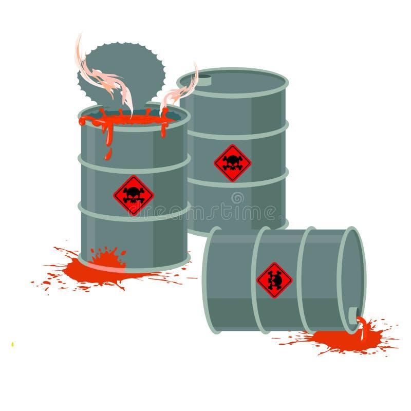 Βαρέλια του κόκκινου οξέος Επικίνδυνα χημικά απόβλητα απεικόνιση αποθεμάτων