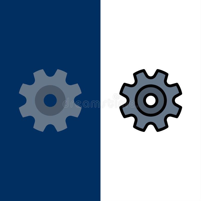 Βαραίνω, εργαλείο, ρύθμιση, εικονίδια ροδών Επίπεδος και γραμμή γέμισε το καθορισμένο διανυσματικό μπλε υπόβαθρο εικονιδίων διανυσματική απεικόνιση