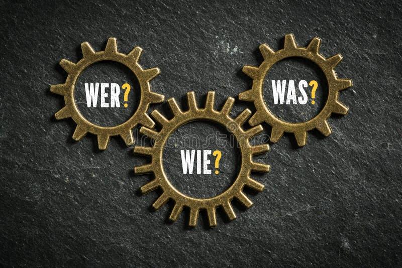 """Βαραίνω με τις λέξεις """"ποιοι, πώς, τι """"στα γερμανικά στοκ φωτογραφία"""