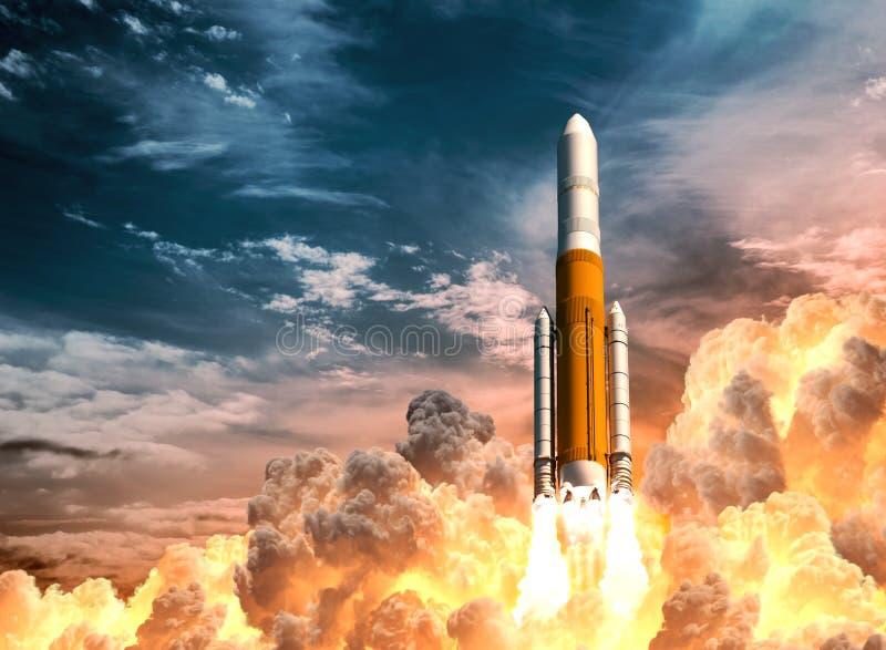Βαριά έναρξη πυραύλων στο υπόβαθρο του νεφελώδους ουρανού διανυσματική απεικόνιση