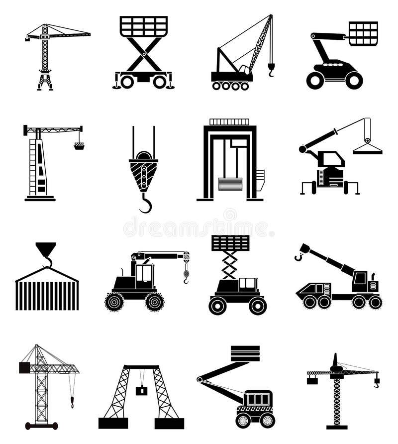 Βαριά ανυψωτικά εικονίδια μηχανών καθορισμένα απεικόνιση αποθεμάτων