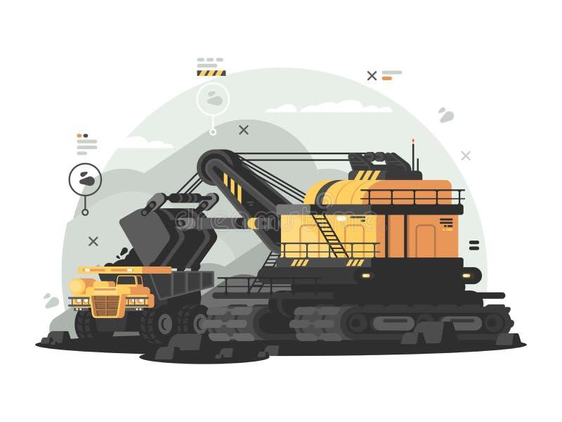 Βαριά μηχανήματα για το ανθρακωρυχείο ελεύθερη απεικόνιση δικαιώματος