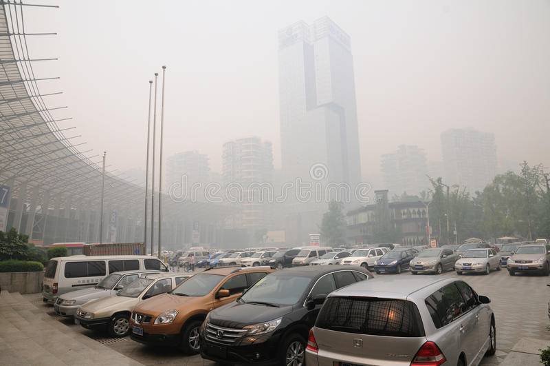 βαριά ρύπανση της Κίνας chengdu αέρα στοκ φωτογραφία με δικαίωμα ελεύθερης χρήσης