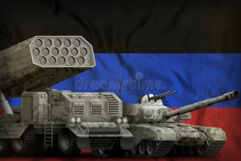 Βαριά στρατιωτική έννοια τεθωρακισμένων οχημάτων Δημοκρατίας λαών του Ntone'tsk στο υπόβαθρο εθνικών σημαιών τρισδιάστατη απεικόν ελεύθερη απεικόνιση δικαιώματος