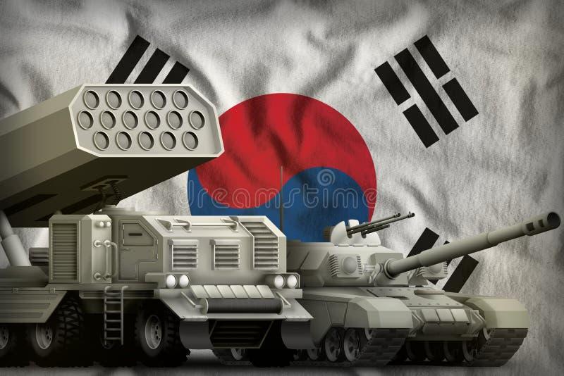 Βαριά στρατιωτική έννοια τεθωρακισμένων οχημάτων Δημοκρατίας της Κορέας Νότια Κορέα στο υπόβαθρο εθνικών σημαιών τρισδιάστατη απε διανυσματική απεικόνιση