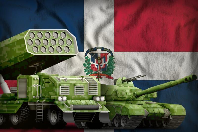 Βαριά στρατιωτική έννοια τεθωρακισμένων οχημάτων Δομινικανής Δημοκρατίας στο υπόβαθρο εθνικών σημαιών r ελεύθερη απεικόνιση δικαιώματος