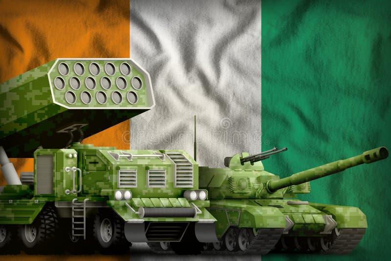 Βαριά στρατιωτική έννοια τεθωρακισμένων οχημάτων δ Ivoire υπόστεγων στο υπόβαθρο εθνικών σημαιών τρισδιάστατη απεικόνιση απεικόνιση αποθεμάτων