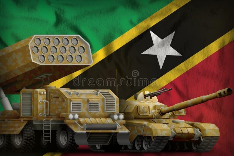 Βαριά στρατιωτική έννοια τεθωρακισμένων οχημάτων Σαιντ Κιτς και Νέβις στο υπόβαθρο εθνικών σημαιών τρισδιάστατη απεικόνιση απεικόνιση αποθεμάτων