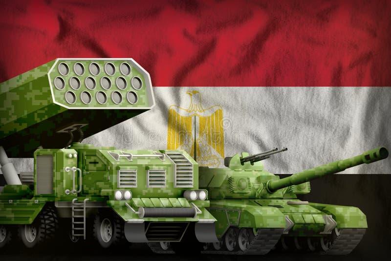 Βαριά στρατιωτική έννοια τεθωρακισμένων οχημάτων της Αιγύπτου στο υπόβαθρο εθνικών σημαιών r διανυσματική απεικόνιση