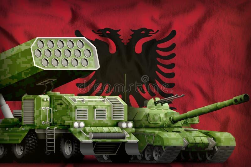 Βαριά στρατιωτική έννοια τεθωρακισμένων οχημάτων της Αλβανίας στο υπόβαθρο εθνικών σημαιών τρισδιάστατη απεικόνιση ελεύθερη απεικόνιση δικαιώματος