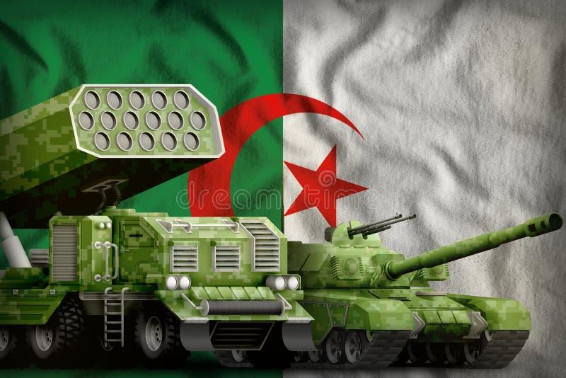 Βαριά στρατιωτική έννοια τεθωρακισμένων οχημάτων της Αλγερίας στο υπόβαθρο εθνικών σημαιών r διανυσματική απεικόνιση