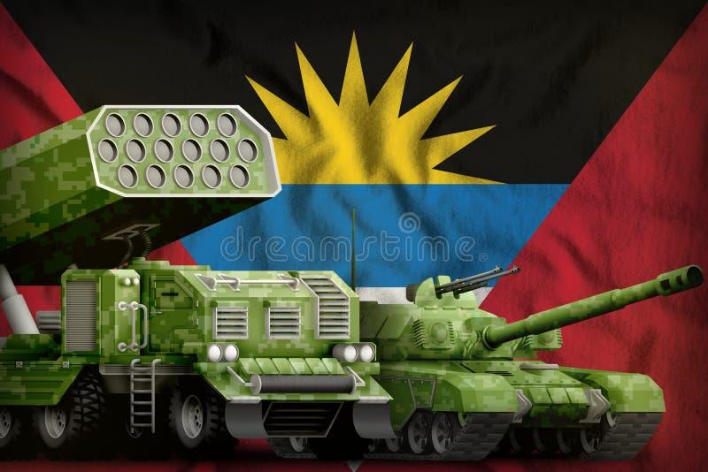 Βαριά στρατιωτική έννοια τεθωρακισμένων οχημάτων της Αντίγκουα και της Μπαρμπούντα στο υπόβαθρο εθνικών σημαιών τρισδιάστατη απει διανυσματική απεικόνιση