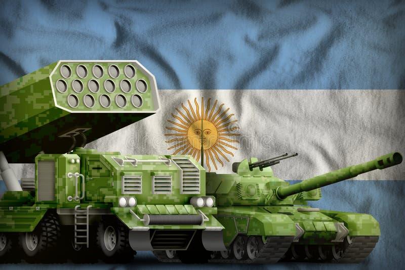 Βαριά στρατιωτική έννοια τεθωρακισμένων οχημάτων της Αργεντινής στο υπόβαθρο εθνικών σημαιών τρισδιάστατη απεικόνιση απεικόνιση αποθεμάτων