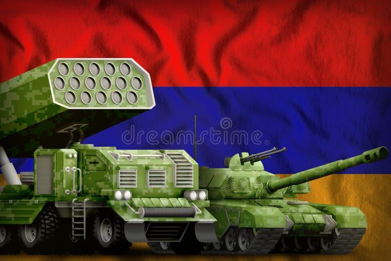 Βαριά στρατιωτική έννοια τεθωρακισμένων οχημάτων της Αρμενίας στο υπόβαθρο εθνικών σημαιών τρισδιάστατη απεικόνιση ελεύθερη απεικόνιση δικαιώματος