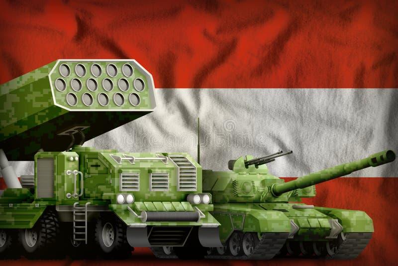 Βαριά στρατιωτική έννοια τεθωρακισμένων οχημάτων της Αυστρίας στο υπόβαθρο εθνικών σημαιών τρισδιάστατη απεικόνιση διανυσματική απεικόνιση