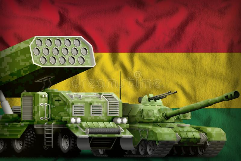 Βαριά στρατιωτική έννοια τεθωρακισμένων οχημάτων της Βολιβίας στο υπόβαθρο εθνικών σημαιών τρισδιάστατη απεικόνιση διανυσματική απεικόνιση
