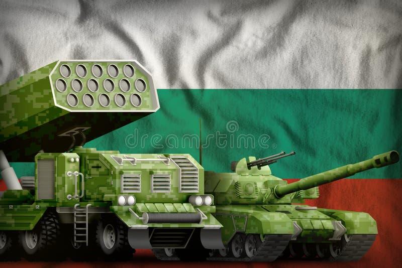 Βαριά στρατιωτική έννοια τεθωρακισμένων οχημάτων της Βουλγαρίας στο υπόβαθρο εθνικών σημαιών τρισδιάστατη απεικόνιση ελεύθερη απεικόνιση δικαιώματος