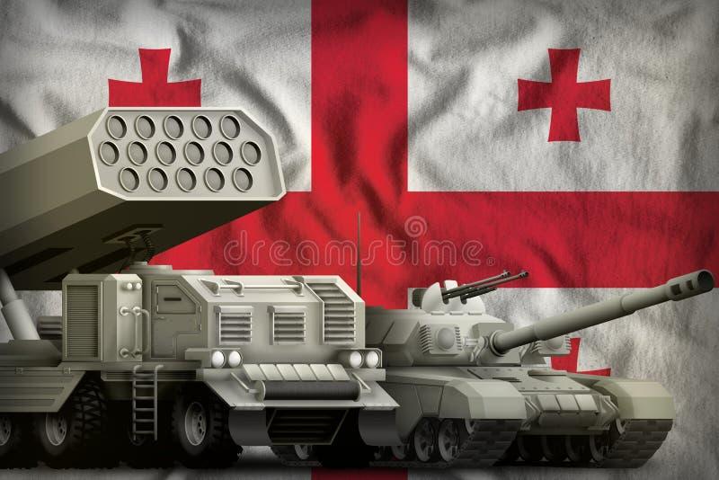 Βαριά στρατιωτική έννοια τεθωρακισμένων οχημάτων της Γεωργίας στο υπόβαθρο εθνικών σημαιών τρισδιάστατη απεικόνιση διανυσματική απεικόνιση