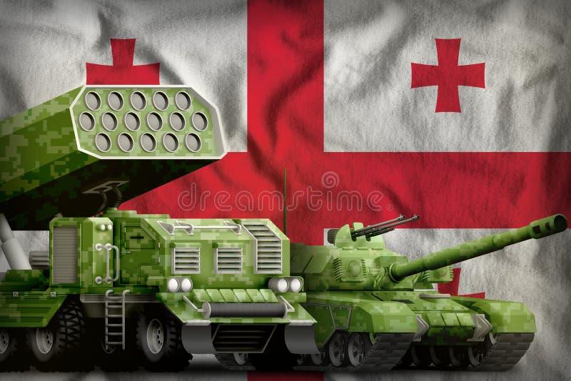 Βαριά στρατιωτική έννοια τεθωρακισμένων οχημάτων της Γεωργίας στο υπόβαθρο εθνικών σημαιών r ελεύθερη απεικόνιση δικαιώματος