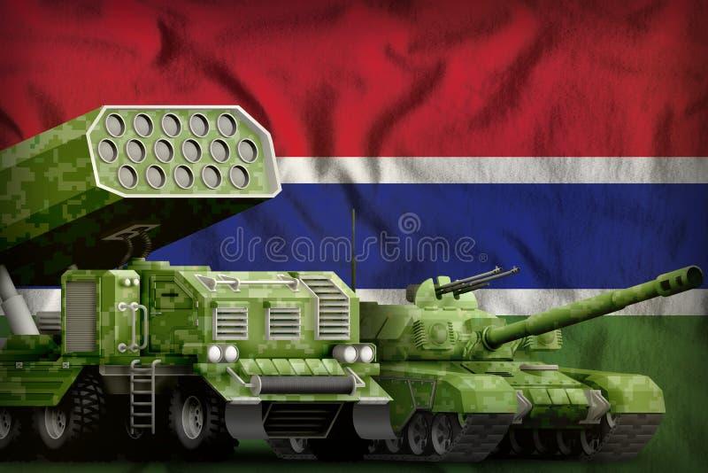 Βαριά στρατιωτική έννοια τεθωρακισμένων οχημάτων της Γκάμπιας στο υπόβαθρο εθνικών σημαιών r ελεύθερη απεικόνιση δικαιώματος