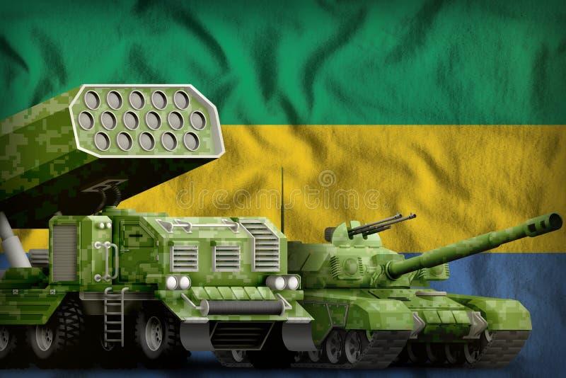 Βαριά στρατιωτική έννοια τεθωρακισμένων οχημάτων της Γκαμπόν στο υπόβαθρο εθνικών σημαιών r ελεύθερη απεικόνιση δικαιώματος