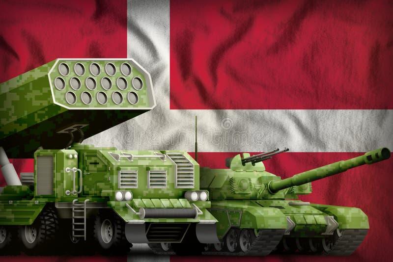 Βαριά στρατιωτική έννοια τεθωρακισμένων οχημάτων της Δανίας στο υπόβαθρο εθνικών σημαιών r διανυσματική απεικόνιση