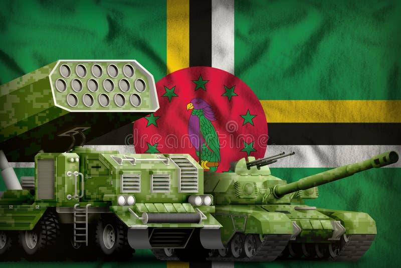 Βαριά στρατιωτική έννοια τεθωρακισμένων οχημάτων της Δομίνικας στο υπόβαθρο εθνικών σημαιών r ελεύθερη απεικόνιση δικαιώματος