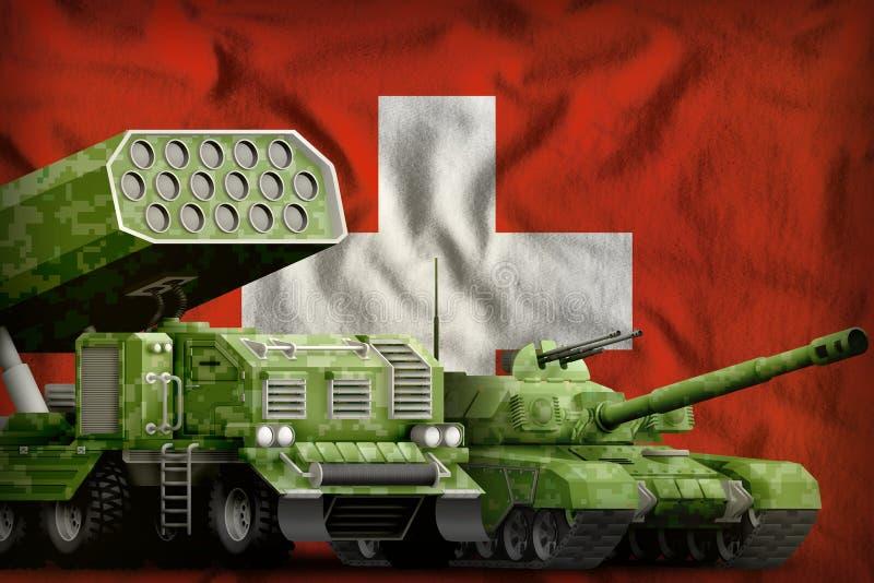 Βαριά στρατιωτική έννοια τεθωρακισμένων οχημάτων της Ελβετίας στο υπόβαθρο εθνικών σημαιών τρισδιάστατη απεικόνιση απεικόνιση αποθεμάτων