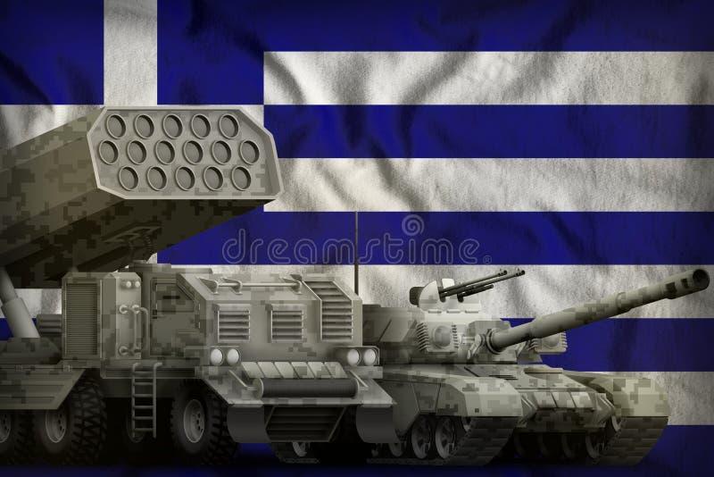Βαριά στρατιωτική έννοια τεθωρακισμένων οχημάτων της Ελλάδας στο υπόβαθρο εθνικών σημαιών τρισδιάστατη απεικόνιση ελεύθερη απεικόνιση δικαιώματος