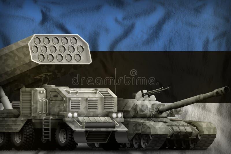 Βαριά στρατιωτική έννοια τεθωρακισμένων οχημάτων της Εσθονίας στο υπόβαθρο εθνικών σημαιών τρισδιάστατη απεικόνιση ελεύθερη απεικόνιση δικαιώματος