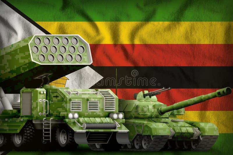 Βαριά στρατιωτική έννοια τεθωρακισμένων οχημάτων της Ζιμπάμπουε στο υπόβαθρο εθνικών σημαιών τρισδιάστατη απεικόνιση ελεύθερη απεικόνιση δικαιώματος