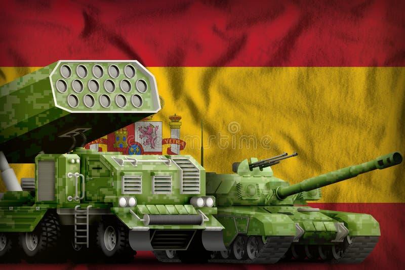 Βαριά στρατιωτική έννοια τεθωρακισμένων οχημάτων της Ισπανίας στο υπόβαθρο εθνικών σημαιών r απεικόνιση αποθεμάτων