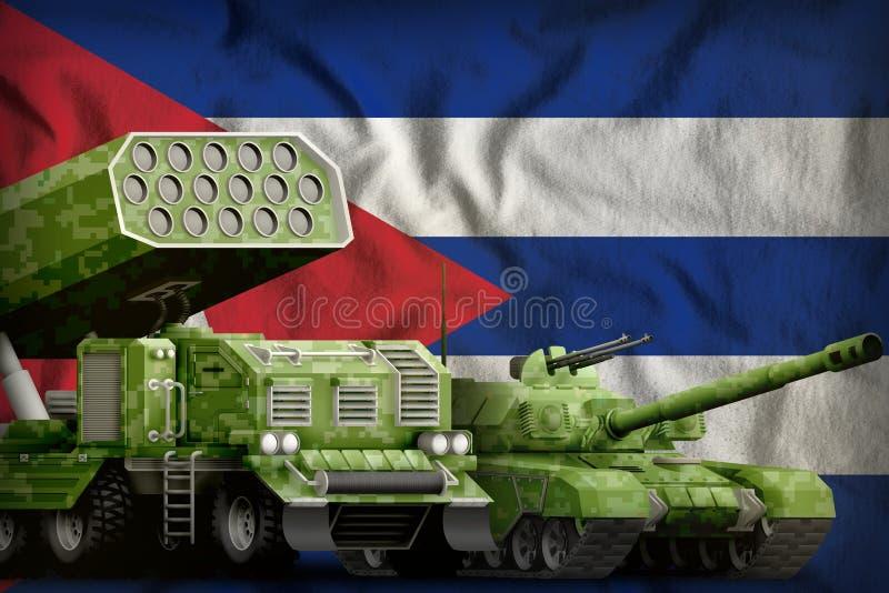 Βαριά στρατιωτική έννοια τεθωρακισμένων οχημάτων της Κούβας στο υπόβαθρο εθνικών σημαιών r απεικόνιση αποθεμάτων