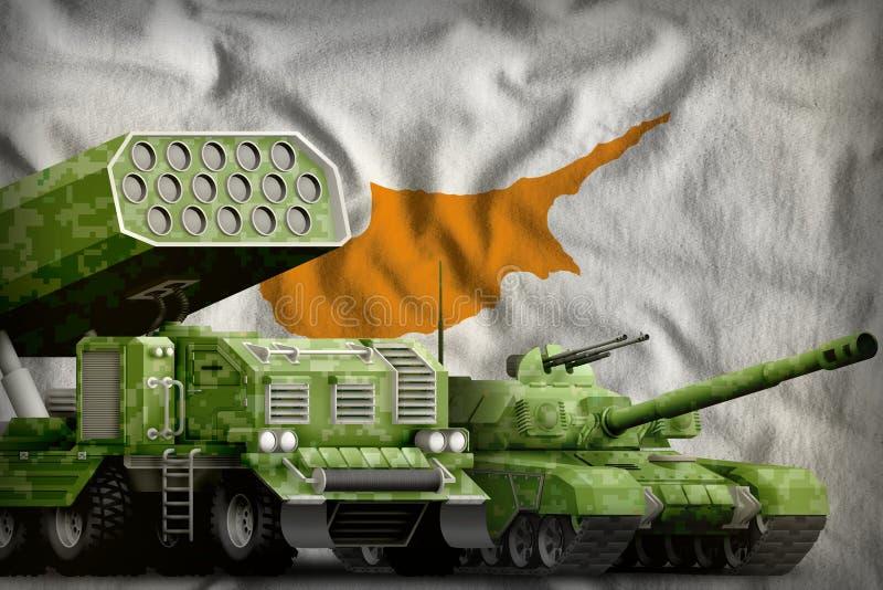 Βαριά στρατιωτική έννοια τεθωρακισμένων οχημάτων της Κύπρου στο υπόβαθρο εθνικών σημαιών r ελεύθερη απεικόνιση δικαιώματος