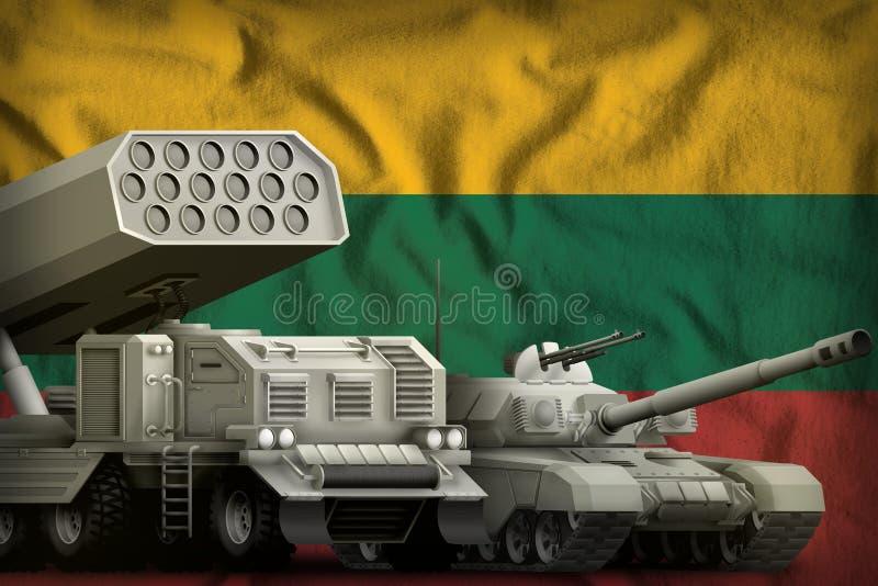 Βαριά στρατιωτική έννοια τεθωρακισμένων οχημάτων της Λιθουανίας στο υπόβαθρο εθνικών σημαιών τρισδιάστατη απεικόνιση απεικόνιση αποθεμάτων