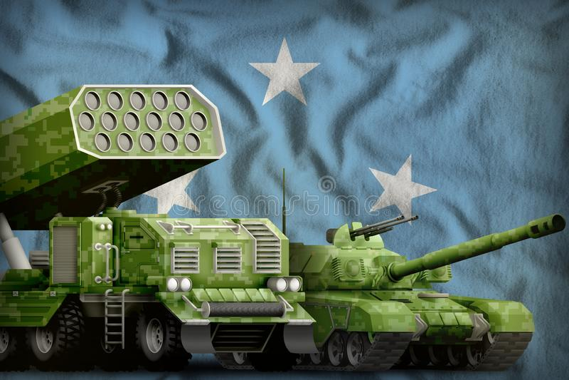 Βαριά στρατιωτική έννοια τεθωρακισμένων οχημάτων της Μικρονησίας στο υπόβαθρο εθνικών σημαιών r διανυσματική απεικόνιση