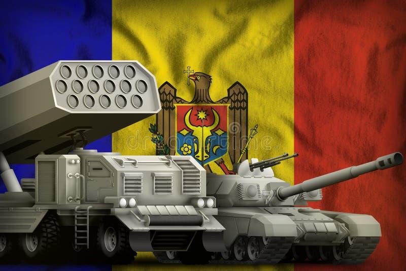 Βαριά στρατιωτική έννοια τεθωρακισμένων οχημάτων της Μολδαβίας στο υπόβαθρο εθνικών σημαιών τρισδιάστατη απεικόνιση ελεύθερη απεικόνιση δικαιώματος