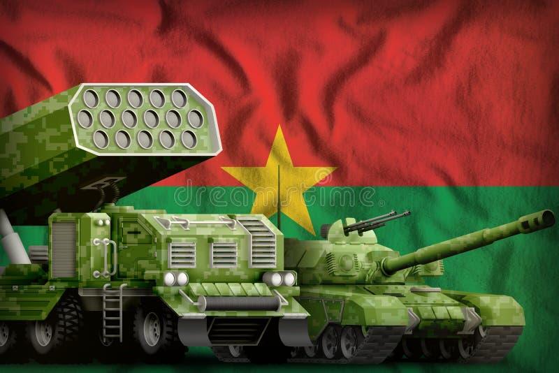 Βαριά στρατιωτική έννοια τεθωρακισμένων οχημάτων της Μπουρκίνα Φάσο στο υπόβαθρο εθνικών σημαιών τρισδιάστατη απεικόνιση ελεύθερη απεικόνιση δικαιώματος