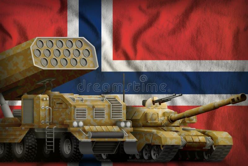 Βαριά στρατιωτική έννοια τεθωρακισμένων οχημάτων της Νορβηγίας στο υπόβαθρο εθνικών σημαιών τρισδιάστατη απεικόνιση απεικόνιση αποθεμάτων
